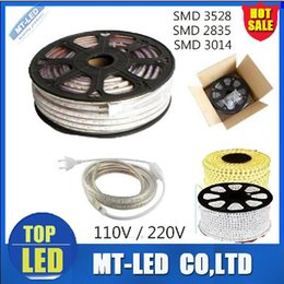Wholesale Ip67 Led Strip 3528 - high voltage 110V 220V LED Strips 100M Epistar SMD3528 SMD2835 SMD3014 led flexible strip with Power plug waterproof IP67 Free Shipping