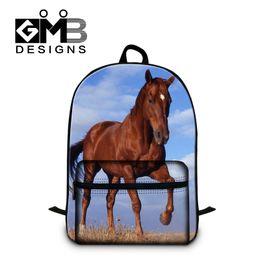 Wholesale Children School Branded Backpack - Wholesale- Dispalang Brand Design Children School Backpack Animal Print Kids Backpacks Horse School Bags For Boys Men's Shoulder Travel Bag