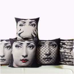 Wholesale Decorative Cover Pillows - Vintage Fornasetti Art Beauty Face SKULL Custom Made Pillow Cover Black and WHite Pillow Case Pillow Cover Decorative