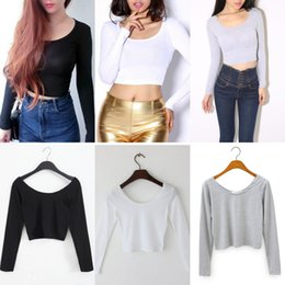 Wholesale Ladies Long Tops Designs - 2016 New Fashion Short Designed Crop Top Sexy Long Sleeve Cropped Tops Ladies Summer T Shirt Women Tops Free Size WY6946