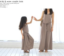 Wholesale Children Brown Autumn Outfit - 2016 mother daughter dresses Summer Casual Style Family Matching Outfits Sleeveless modal Dress brown color 9size Parent-child outfit