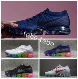 Wholesale Men Canvas Shoe Wholesale - New Comme Mesh Fashion Knitting Weaving Running Shoes For Men Women Grey Rainbow Vapormax 2018 White Maxes Sports Sneakers Size 36-46