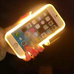 Wholesale Retail Package For Iphone Case - 2017 New LED Light Up Your Face Luminous Case Selfie light Cases For iphone 7 7plus 6s plus Galaxy S7 Edge S6 Note 7 With Retail Package