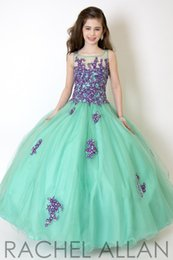 Wholesale Children Dresses Size 14 - 2016 Cheap Girls Pageant Dresses For Teens Lace Appliques Beads Illusion Long Pink Blue Ball Gown Size 13 Party Children Flower Girl Gowns