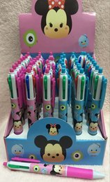 Wholesale Cartoon Ballpoint - New 48pcs Box Cartoon Tsum Mickey Minnie Multi-color Ballpoint Pens for Children Cute Student 4 color Pen School Stationery Christmas Gifts