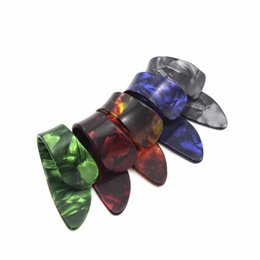 Wholesale Celluloid Finger Picks - Wholesale-5pcs set Celluloid Finger Thumb Guitar Picks Playing Guitar Plectrums Guitar Accessories, Colors Random