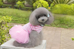 Wholesale Cheap Easter Clothes - B13 Dog Summer Striped bubble skirt dress - bow-knot design Summer dog Clothing cheap sweet summer dress