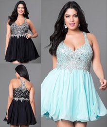 Wholesale Cheap Party Tight Dresses - Sexy Party Dresses Tight V Neck Sleeveless Short Mini Prom Dress Cheap Chiffon Gown Crystals Shiny Dress Inexpensive High Quality Plus Size