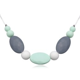 Wholesale Wholesale Teething Necklace Silicone - Women Silicone Pendant Necklace Food BPA Free Food Grade Silicone Fashion Jewelry Baby Chew Carrier Teething Accessories Long Necklace Gifts
