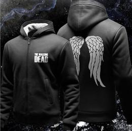 Wholesale Walk O Long - The Walking Dead Hoodie Zombie Daryl Dixon Wings Fleece Cotton Men Hoodies Zipper Jacket Men's Sweatshirts Sportswear