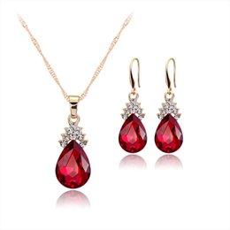 Wholesale Gold Blue Gem Earring - Luxury jewelry set necklace earring crystal pendant ear stud drop necklace three colour gem party jewelry set AC004