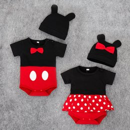 Wholesale Toddler Girls Pettiskirt Outfits - 2017 Summer Infant Toddler Baby Cotton Onesies Romper Suit Boy Girl Mikey Bodysuit+ Cap Jumpsuit Triangles Pettiskirt briefs Romper Outfits