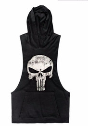 Wholesale Black Bodybuilding - Wholesale-2016 Punisher Skull Hoodies Bodybuilding Stringer Gym Vest Hoodie Fitness Loose Clothing Tank Top Men Clothing Mucline