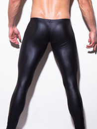 Wholesale Night Performance - Wholesale-HOT Low-rise Bulge Pouch Night Club Stage Performance Tights N2N Bodywear Pants Men's Sexy Faux Leather Leggings Black Skin