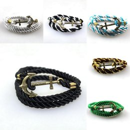 Wholesale Anchor Charm Bronze - Charms Twisted Nylon Cord Wrap Bracelet Vintage Bronze Anchor Men Women Unisex Multilayers Wristband Rope Jewelry
