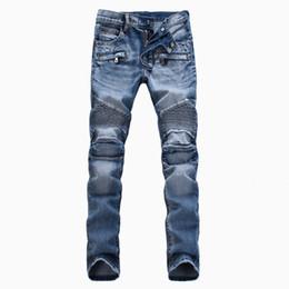 Wholesale Cheapest Hops - 2016 New Cheapest Men HIP HOP biker jeans denim cargo pleated slim skinny trousers retail & wholesale blue men long Motorcycle pants