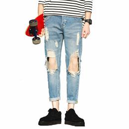 Wholesale Trousers Patch - Wholesale-Summer Mens Jeans Ripped Holes Denim Harem Pants Letter Patches Jeans Men Sport Casual Biker Jeans Male trousers Hip pop,EDA340
