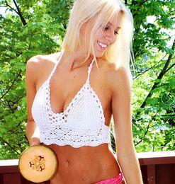 Wholesale Hands Free Bra - Newest Summer Halter Tops Hand Crochet Bikini Strapless Backless Tops Women Vest Crop Tops Lady Bra Tank Top 4 colors in stock