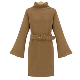 Wholesale Plus Size European Winter Dresses - 2017 European and American autumn and winter new temperamental women's dress waist dress big code loudspeaker long sleeves knitted dress