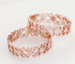 anéis de ouro com sorte Desconto Sorte Quatro Anéis De Folha Para As Mulheres Oco Out 18 K Rose Gold Cor Moda Estilo Coreano Hot New