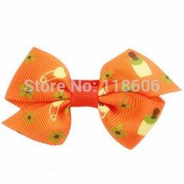 Wholesale Red Bow Hair Pin - 180pcs lot Baby Nipple Pin Printed Ribbon Hairbows hair bows hair accessory Orange