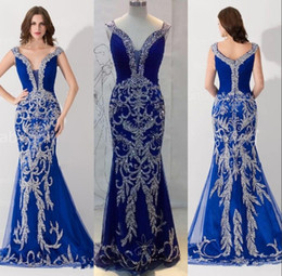 Wholesale Sequined Designer Evening Dresses - Mermaid Evening Dresses 2016 Luxury Designer Prom Dress Off the Shoulder Crystal Sequined Bling Royal Blue Tulle Formal Pageant Gowns