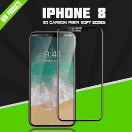 Wholesale Iphone Screen Protector Bag - For iPhone8 3D Full Cover Carbon Fiber Soft Edge Tempered Screen Protector for iPhone7 Tempered Glass protector With OPP Bag
