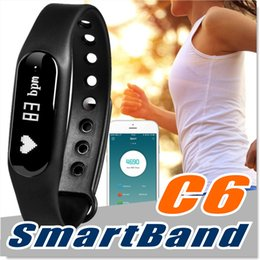 Wholesale Orange Sms Email - Fitness Tracker C6 Smart Wristband Bluetooth 4.0 Heart Rate Monitor Call SMS Reminder IP65 Waterproof Mini Band with OLED Screen with Box