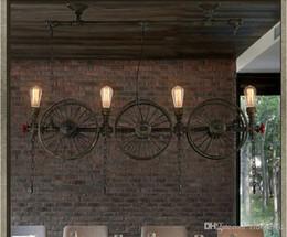 design ristorante industriale Sconti Americano creativo Loft industriale lampada a sospensione design country ferro ruota lampada a sospensione vintage ristorante bar decorazione a sospensione a LED