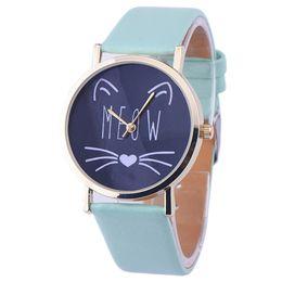 Wholesale Dressing Cats - Wholesale-10 Styles Relojes! 2016 New Women Leather Bracelet Watch Gold Case Quartz Watch Laides Casual Cute Cat WristWatch Mujer Montre