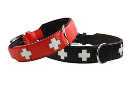 Wholesale Dog Leather Goods - 2016 Adjustable Dog Collar Bone Good Quality Leather Dog Supplier Mediums Large Pet Collars Cross Style