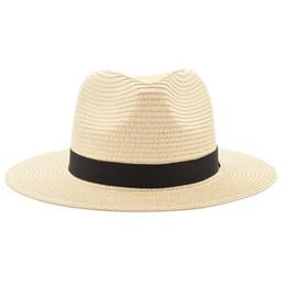 Hommes fedora de paille en Ligne-Vintage Panama Chapeau Hommes Paille Fedora Mâle Sunhat Femmes Été Plage Pare-Soleil Chapeau Chapeau Cool Jazz Trilby Cap Sombrero MX17161