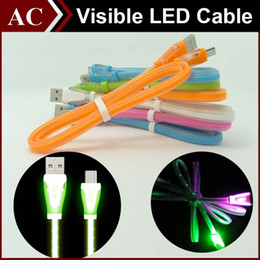 Wholesale Led Flat Usb Micro - Visible LED Light Micro USB Sweet Candy Cable 1m 3ft Flat Noodle Charger Sync Data Extra Charging Lighting Line Adapter For Samsung HTC New