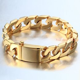 Wholesale Curb 12mm - New High Quality 12mm 316L Stainless Steel Smooth ID Bracelets Bling Mens Womens Jewelry Gold 18K Curb Cuban Bangles