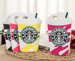 Wholesale Iphone Cases Coffee - Free Shipping 3D Cute Starbuck Silicon Coffee Cup Case Cover For iPhone 6 6S Plus Phones Case