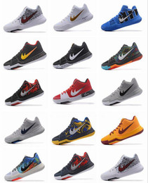 Wholesale Leather Hot Tops - 2017 Kyrie Irving 3 Hot Punch Team Red Christmas Cheap Basketball Shoes Men Top Quality Kyrie 3 Air Cushion Sports Sneakers Size US7-12