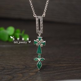 Wholesale Marcasite Pendant Necklace - 100% real pure 925 sterling silver old silver pendant necklaces, marcasite, green calcedony chrysoprase, punk rock gothic vintage, for women