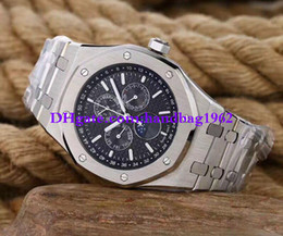 Wholesale Wrist Watch Transparent - Luxury high quality 26574 black Dial 41mm Stainless Steel bracelet Automatic Mechanical Transparent Mens Watch Watches Wrist watch
