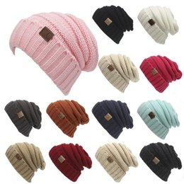 Wholesale Cheap Knitting Wool Wholesale - Cheap Wholesale Woolen Trendy Hats Winter Knitted Beanie Label Winter Knitted Wool Cap Unisex CC Solid Hat Beanies Hat