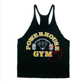 Wholesale Men Tank Top Cheap - Power House Print cheap Gym Singlet Y Back Singlet tank top for men golds vest tops