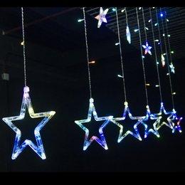Wholesale Ip44 Plug - Wholesale- Fairy LED Star Curtain string Lighting Waterproof IP44 110-220V New Year Decoration Led Star String Christmas Lights EU US Plug