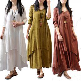 Wholesale Women Blouses Bohemian - Fashion Women's Peasant Ethnic Boho Cotton Linen Long Sleeve Maxi Dress Gypsy Blouse Shirt Dresses