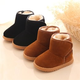 Wholesale Wholesale Flats For Toddlers - 2016 New Children Boots For Girls Boys Kids Flat Snow Boots With Fur Inside Warm Winter Shoes Toddler Shoes US21-25