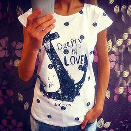 Wholesale Ladies Anchor Shirt - Wholesale-2016 Summer tops tees ladies Letter Print t shirt women Boat anchor t-shirt dress female tshirt woman clothes plus size vestidos