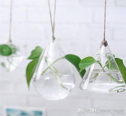 Wholesale Glass Hydroponic Pots - lower Implement Suspension Type Transparent Glass Vase Creative Pastoral Hydroponic Plant Infusion Bag Or Bottle Terrarium Wedding Decor