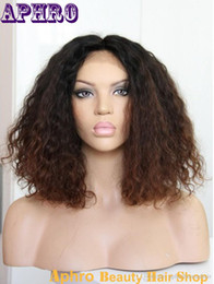 wholesale ombre full wigs Promotion Brown Lace court Kinky Curly Cheveux Soie Top Ombre Glueless Full Lace Perruques 130% Densité Cheap origine cheveux sombres avant Perruques gros