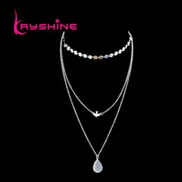 Wholesale Bird Drop - Gold-Color Silver Color Multi Layer Link Chain With Bird Water Drop Shape Chain Necklace For Women Accessories Jewelry