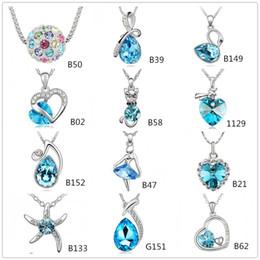 Wholesale Glass Starfish Necklace - Fashion Austrian Crystal CZ Diamonds Heart Angel Swan Starfish Pendant Charm Necklace Women Jewelry 12 Style Optional