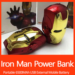 Wholesale Wholesale Iron Man Power Bank - 6500mAh Iron man electroplate Power Bank Portable Charger External Battery For iPhone 5S 6 6S 6plus For Samsung S5 S4 Note 4 3 UPS Free ship