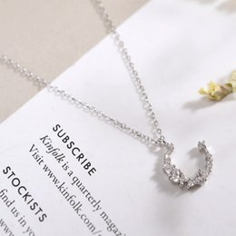 Wholesale Buy 925 Sterling Silver - 925 Sterling Silver Chimney Womens Crescent Half-Moon Pendant Necklace Chain LinkWild temperament giftIrregular crescent necklace Hot buy